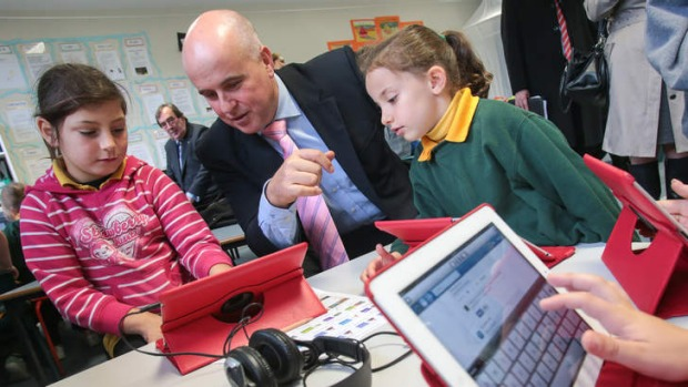 NSW Education Minister Adrian Piccoli with school kids. Photo: Adam McLean