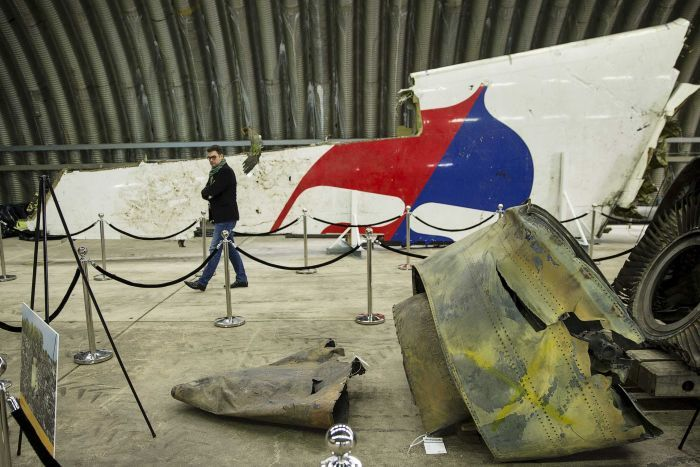 The wreckage of MH17 is seen after the presentation of a report into the crash. Reuters Photo: Michael Kooren