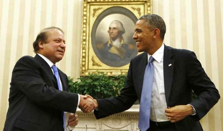 President Barack Obama meets with Pakistani Prime Minister Nawaz Sharif in the Oval Office of the White House.