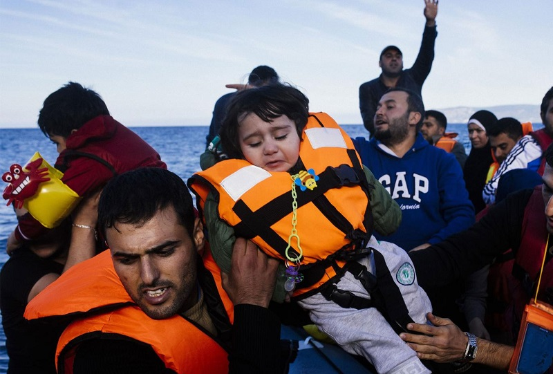 Refugees arrive on the Greek island of Lesbos after crossing the Aegean sea from Turkey - a crossing EU leaders want to discourage people from taking AFP/GEtty Imagese