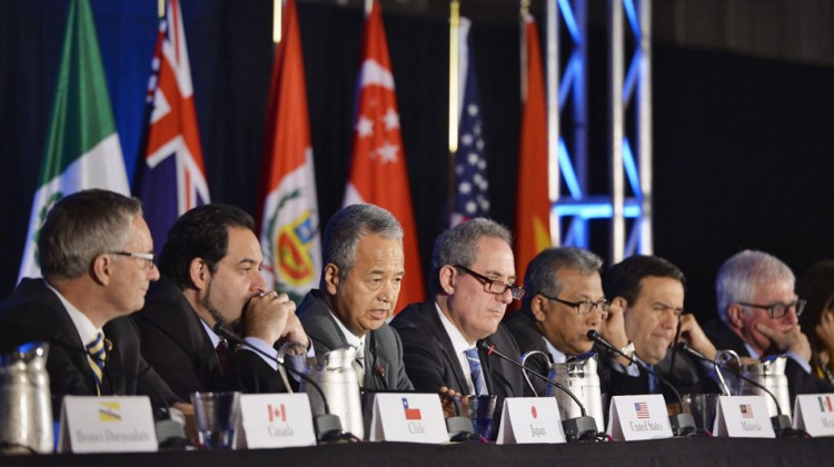 Representatives of the Pacific Rim countries attend a press conference in Atlanta on Oct. 5, 2015. Photo: Kyodo/AP