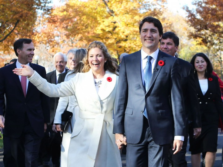 Incoming Canadian Prime Minister Justin Trudeau and his wife Sophie Gregoire arrive with his cabinet before his swearing-in as Canada's 23rd prime minister at Rideau Hall in Ottawa on Nov. 4, 2015. B;air Gable,AFP/Getty Images