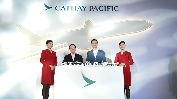 Cathay Pacific chief executive Ivan Chu launches the new livery with Hong Kong secretary for transport and housing Anthony Cheung (Cathay)