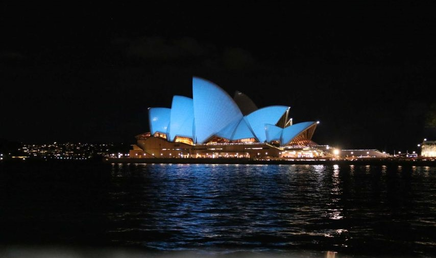 The Sydney Opera House was one of the first landmarks to be lit up for UN 70th anniversary. Photo: Dijana Damjanovic