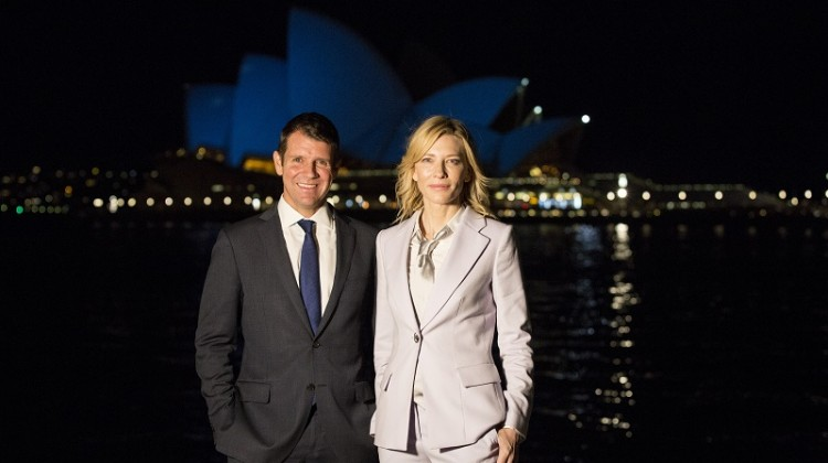 NSW Premier, Mike Baird, with top Australian actress, Cate Blanchett, at an event to mark the 70th anniversary of the United Nations at the Museum of Contemporary Art, Sydney.