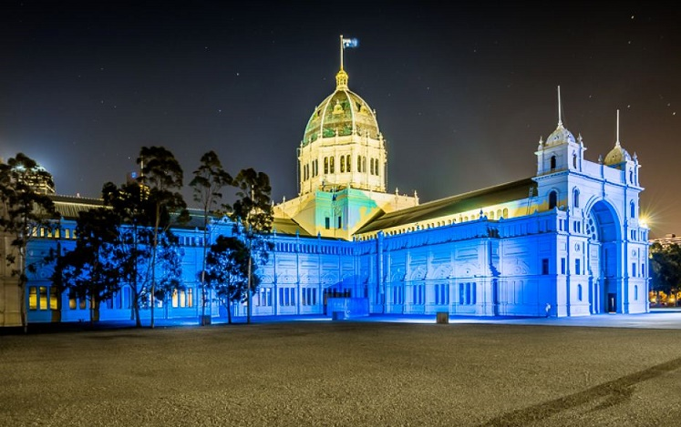 Royal Exhibition Building in Melbourne, lit up in blue for the 70th anniversary of the United Nations, September 23, 2015. Photo by UN (Stewart Donn)
