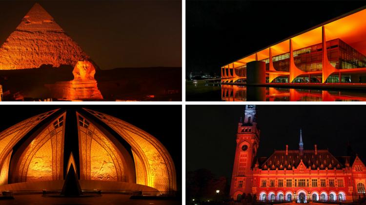 Snapshots of iconic monuments in orange. Collage by Tribune International