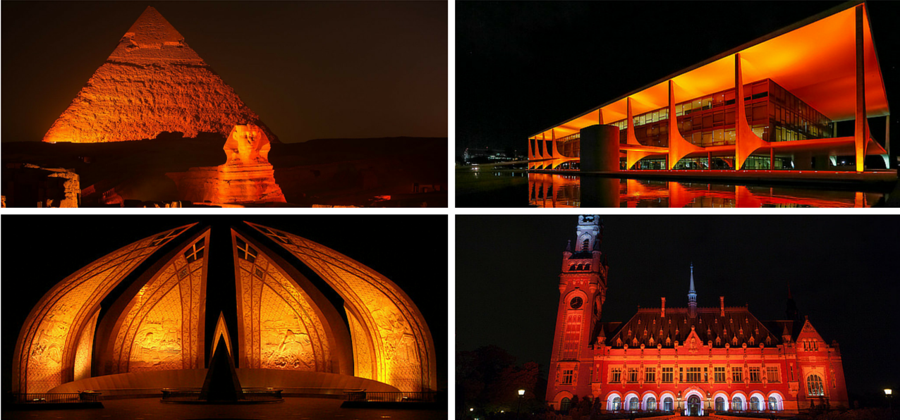 Snapshots of iconic monuments in orange. Collage by Tribune International