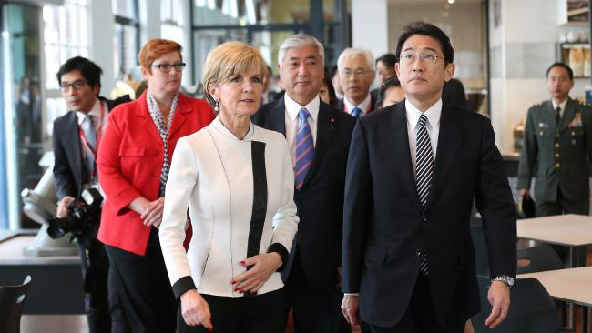 Australia's Minister for Foreign Affairs Julie Bishop walks with Japan's Minister for Foreign Affairs, Fumio Kishida during a visit to the Royal Australian Navy Heritage Centre on November 22, 2015 in Sydney, Australia. Photo: Getty Images