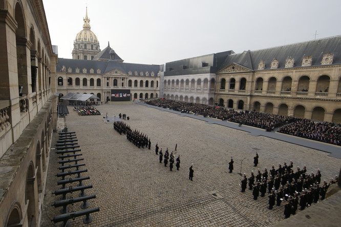General view of the courtyard during a ceremony where politicians, officals and guests pay a national homage to the victims of the Paris attacks at Les Invalides monument in Paris, France. Photo: Jacky Naegelen