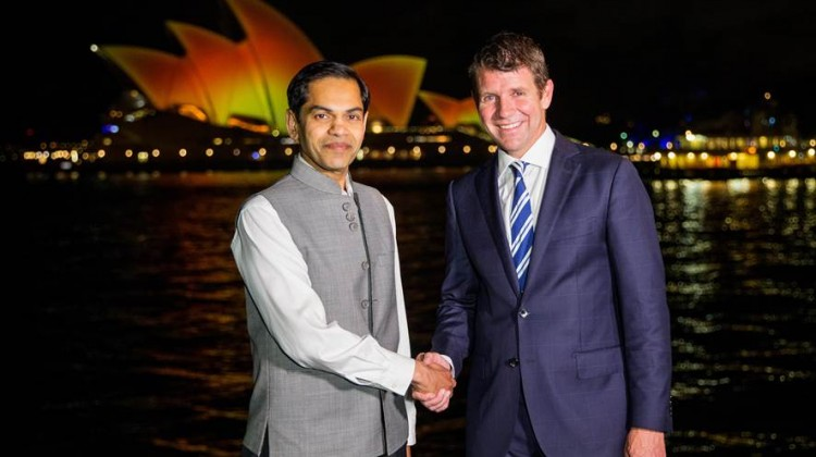 Indian Consul General Sunjay Sudhir and NSW Premier Mike Baird celebrate Diwali as the Opera House was lit up in a golden orange to mark the Hindu festival of light
