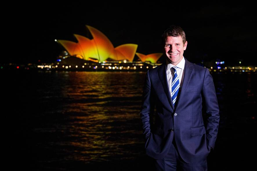 NSW Premier Mike Baird celebrate Diwali as the Opera House was lit up Thursday evening on 12th November 2015 in celebration of Diwali.