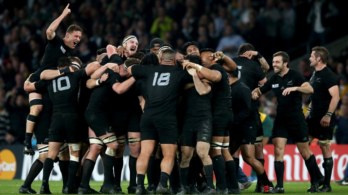 New Zealand players celebrate victory at the final whistle. Photograph: David Rogers/Getty Images