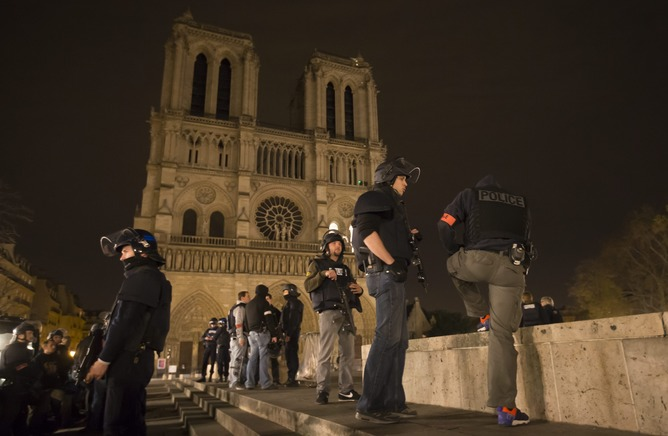 Paris' famed Notre Dame Cathedral was in lockdown after terrorist attacks across the city killed more than 100 people. EPA/Ian Langsdon