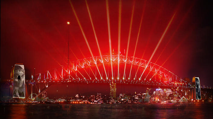 A specially choreographed Welcome to Country will be projected onto the Sydney Harbour Bridge's pylons tonight as the bridge turns into a giant Aboriginal flag.