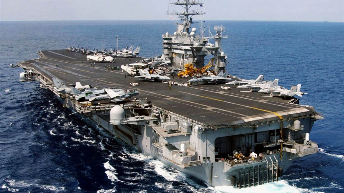 Aircraft Carrier U.S.S. Harry S. Truman steams underway on March 29, 2003 in the Eastern Mediterranean Sea. Photo Source: U.S Navy/Getty Images File.