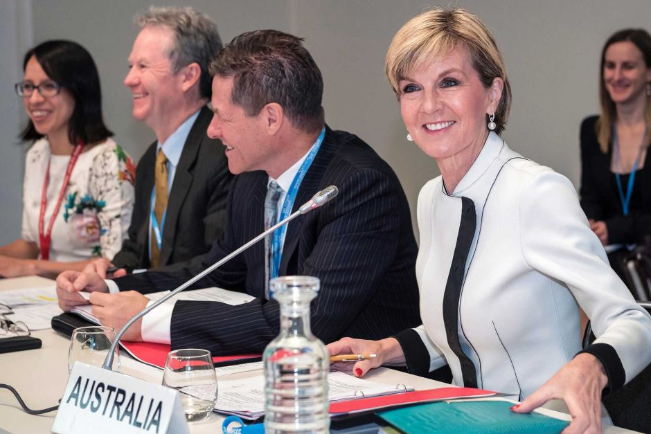 Foreign Minister Julie Bishop chairing the umbrella group ministerial meeting during the United Nation's climate change conference in Paris. AAP: DFAT