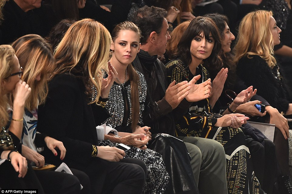 A star-studded front row: Kristen Stewart arrived in Rome leaving her usual tomboy style firmly back in LA and featured in the mini biopic, The real Coco, that was shown to the audience