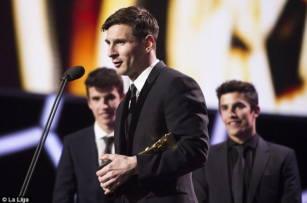 Lionel Messi gives an acceptance speech after being named La Liga's best player for the sixth time on Monday.