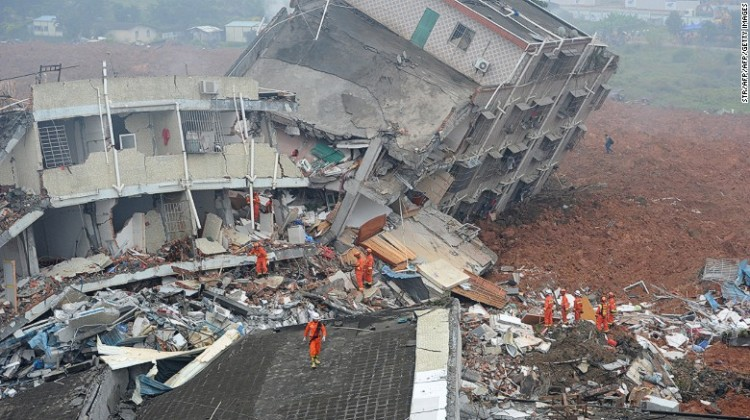 Dozens of people are missing after a landslide engulfed 22 buildings in Chinese city of Shenzhen.
