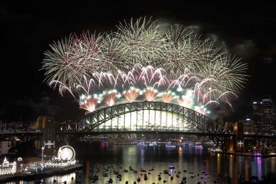 Fireworks beautify the sky on Sydney's Harbour