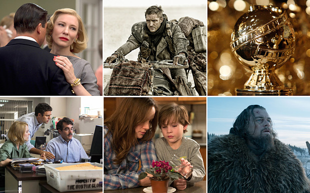 The nominees for best motion picture drama are (clockwise from top left): Carol, Mad Max: Fury Road, The Revenant, Room, and Spotlight