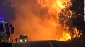 This handout photo from firefighters shows the Waroona fire burning near Yarloop