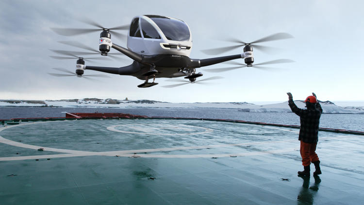The Ehang 184, created by Guangzhou-based company Ehang, essentially looks like a larger version of a quadcopter drone