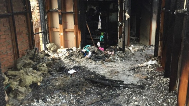 The bedroom where it's believed a 'hoverboard' started a fire. Photo: Christine Ahern, Channel Nine