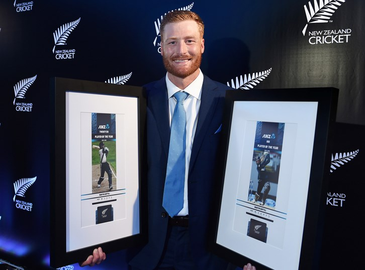 Martin Guptill with his T20 and ODI player of the year awards.