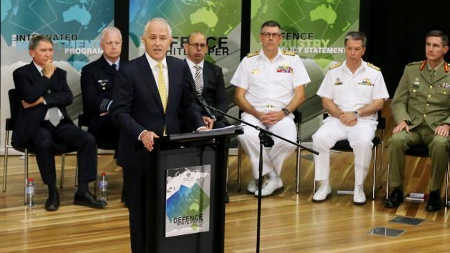 PM Malcolm Turnbull speaks at the release of the 2016 Defence White Paper. Photo: Ray Strange.