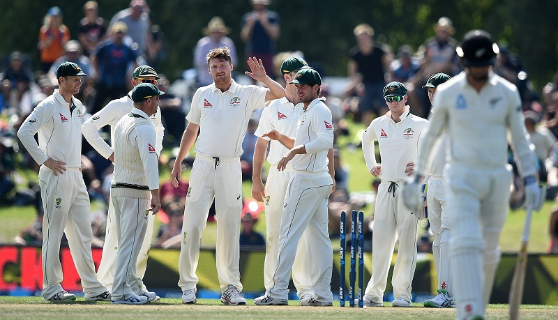 Jackson Bird took five wickets and Australia knocked off 70 of the 201 runs they require for a series victory against New Zealand at Hagley Oval, Christchurch. Photograph: Dave Hunt/EPA