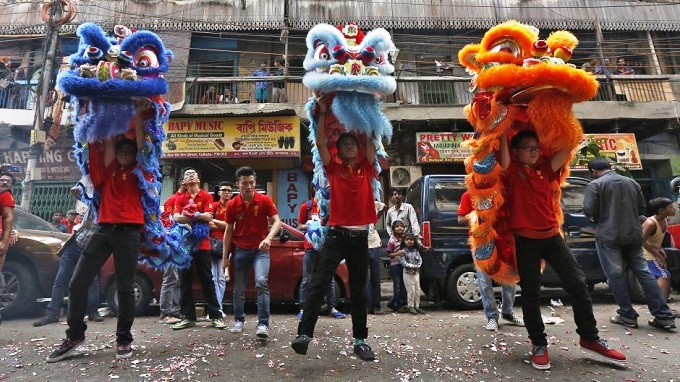Members of the Chinese community perform a lion dance as they take part in the celebrations to mark the Chinese New Year in Kolkata, India. - Reuters