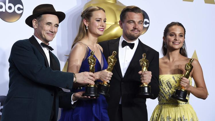 The winners of the four main acting awards were (l-r) Mark Rylance, Brie Larson, Leonardo DiCaprio and Alicia Vikander