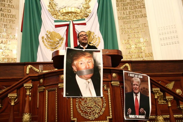 Deputy Mauricio Alonso Toledo Gutierrez speaks before the Mexico City legislature. The legislature voted on March 2 to ask the federal government to ban Donald Trump from entering the country.