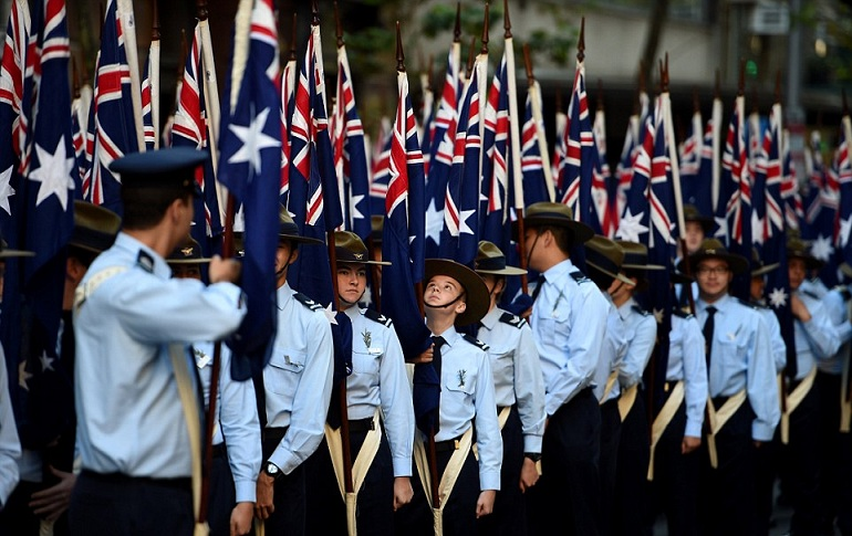 Australian Air Froce cadets are seen here taking part in the Sydney march on Monday morning - AAP