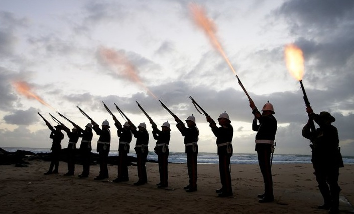 Members of the Albert Battery fire a gun salute during the Currumbin RSL dawn service in Gold Coast, AustraliaChris Hyde/ Getty Images