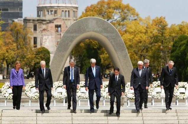 G7 Foreign Ministers walk together after placing wreaths at the cenotaph at Hiroshima Peace Memorial Park in Hiroshima, western Japan on Monday.