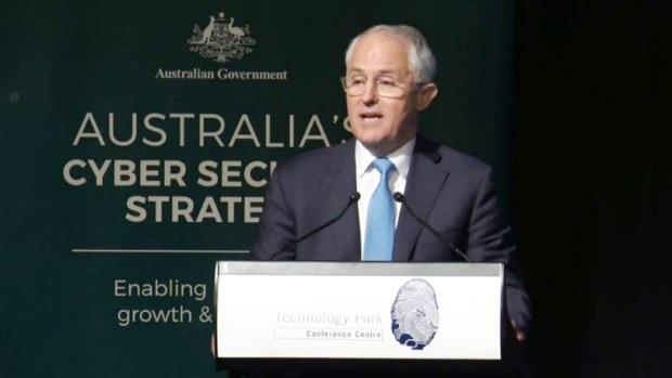 Prime Minister Malcolm Turnbull announces the new cyber security policy. Photo: Fairfax Media