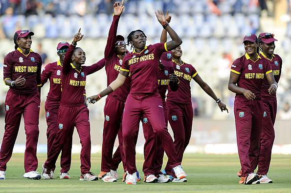 West Indies players celebrating after the win. © Getty