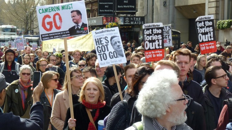 Hundreds demonstrate in London asking for David Cameron's resignation. Photo: Ryan Barrell