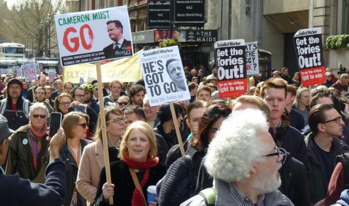 Hundreds demonstrate in London asking for David Cameron's resignation. Photo: Ryan Barrell