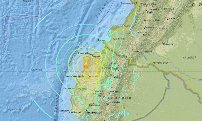 The massive earthquake hit just off the coast of Ecuador. (Supplied: USGS)
