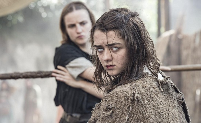Faye Marsay and Maisie Williams in season 6, episode 1 of Game of Thrones