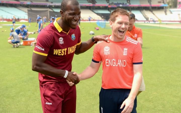 two captains - Darren Sammy (left) and Eoin Morgan (right)
