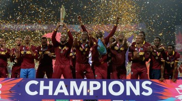 West Indies players celebrate after defeating England in the final of the ICC World Twenty20 2016 cricket tournament at Eden Gardens in Kolkata, India, Sunday, April 3, 2016.