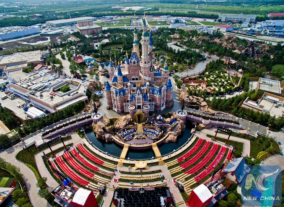 Aerial view of Shanghai Disney Resort in China