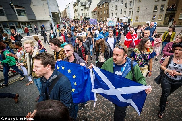 Anti-Brexit protests were also held in other UK cities, including Edinburgh, where Remain won by a vast majority