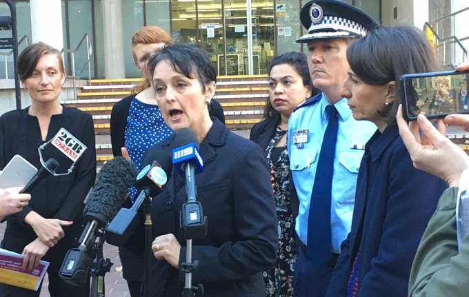 Pru Goward making domestic violence funding announcement. Photo: ABC News/Antoinette Lattouf