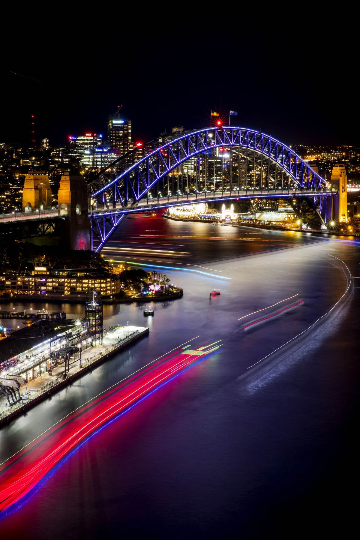 Harbour lights at the opening night of Vivid Sydney. Photo: James Horan/Destination NSW